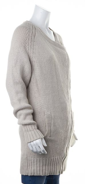 7 FOR ALL MANKIND Beige Chunky Knit Long Asymmetrical Zip Cardigan Sweater
