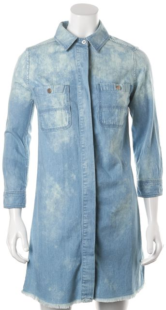 7 FOR ALL MANKIND Blue Acid Wash Denim Distressed Hem Shirt Dress