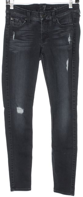 7 FOR ALL MANKIND Dark Blue Skinny Distressed Jeans