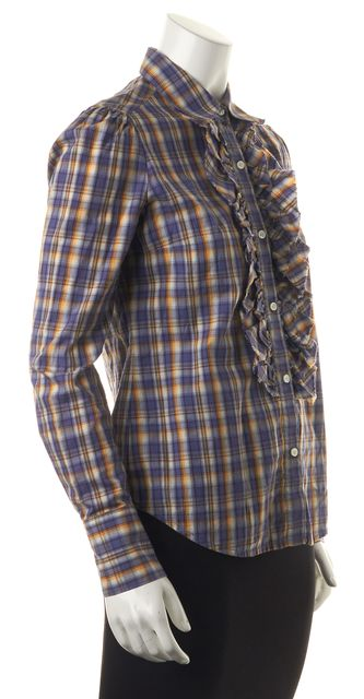 7 FOR ALL MANKIND Blue Yellow Burgundy Ivory Plaid Woven Knit Top