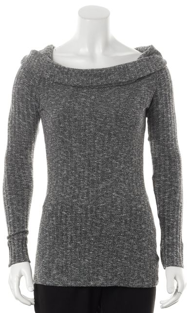 7 FOR ALL MANKIND Gray Ribbed Marled Knit Cowl Neck Sweater