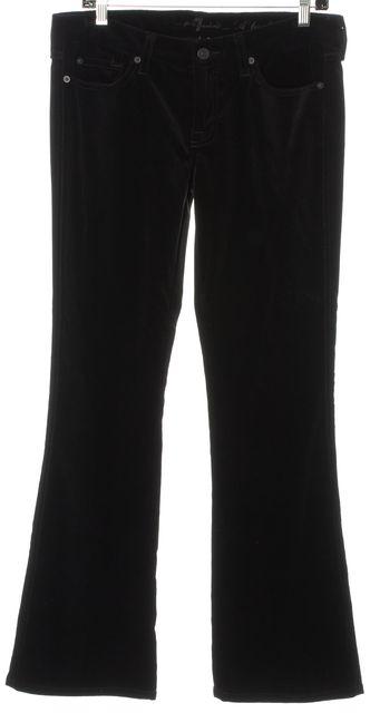 7 FOR ALL MANKIND Black A Pocket Velvet Boot Cut Flare Leg Dress Pants