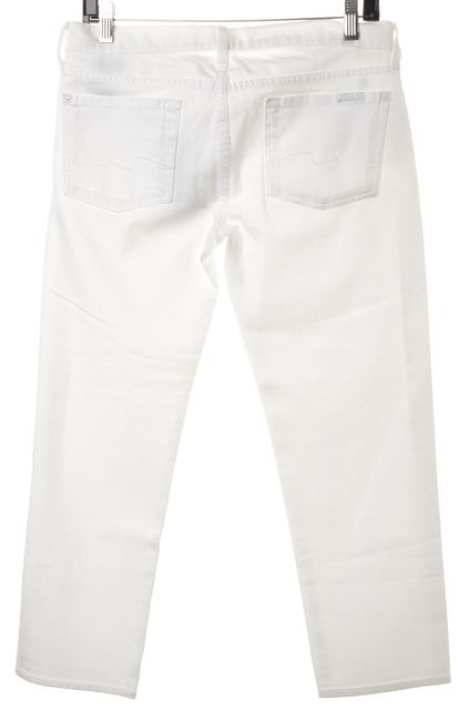 7 FOR ALL MANKIND White Stretch Cotton Straight Leg Cropped Jeans