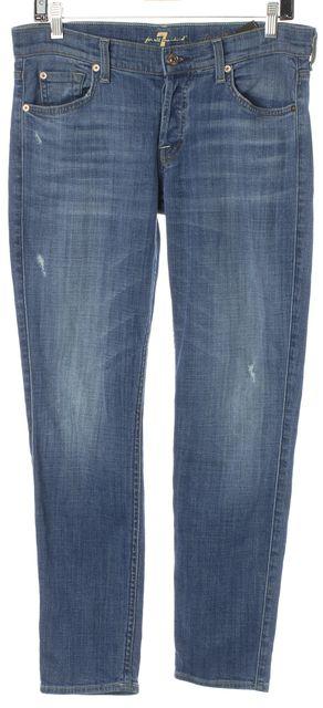 7 FOR ALL MANKIND Blue Distressed Denim Josefina Skinny Boyfriend Jeans