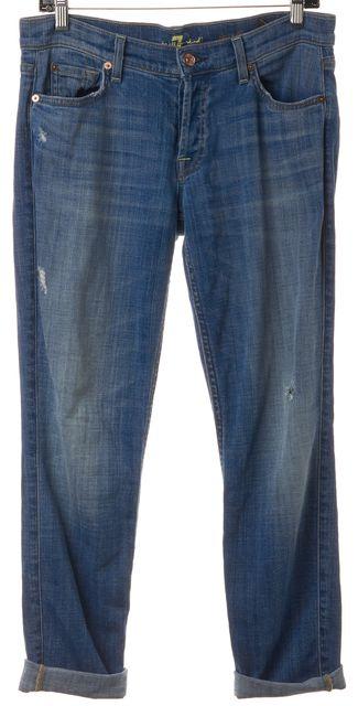 7 FOR ALL MANKIND Blue Josefina Skinny Slim Fit Distressed Boyfriend Jeans