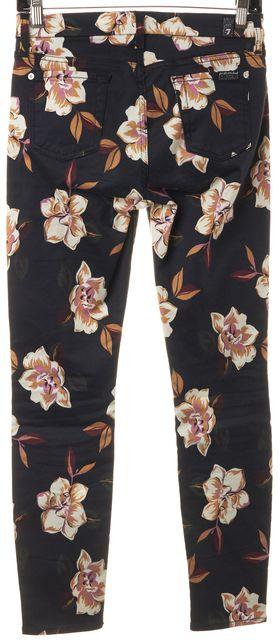7 FOR ALL MANKIND Navy Blue Ivory Pink Floral Legging Pants