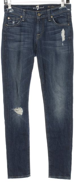 7 FOR ALL MANKIND Blue Distressed Denim The Slim Cigarette Fit Jeans