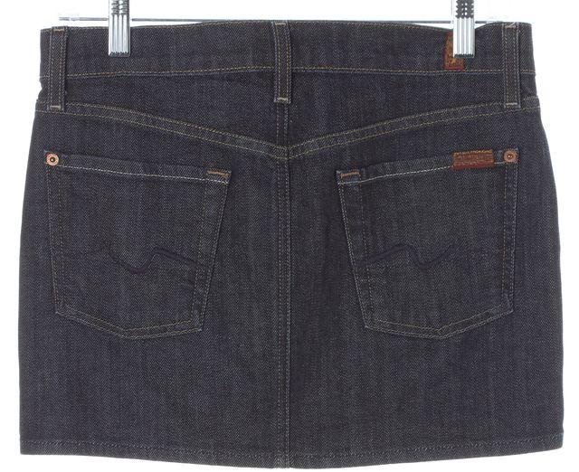 7 FOR ALL MANKIND Blue Roxy Dark Wash Denim Straight Skirt