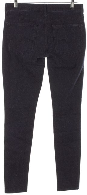 7 FOR ALL MANKIND Blue Speckled Gwenevere Mid-Rise Skinny Jeans