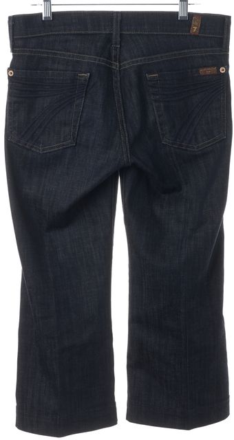 7 FOR ALL MANKIND Blue Stretch Cotton Dojo Cropped Jeans