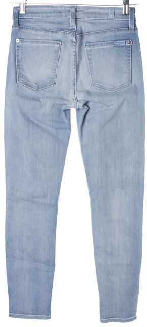 7 FOR ALL MANKIND Blue Cropped Mid-Rise Stretch Jeans