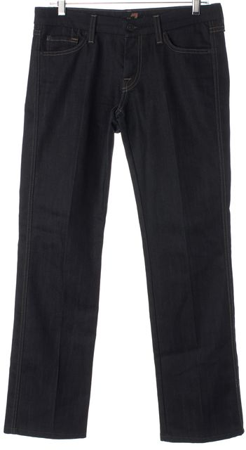 7 FOR ALL MANKIND Blue Stretch Cotton Mid-Rise Straight Leg Jeans