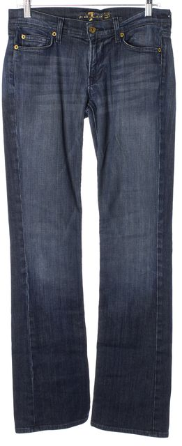 7 FOR ALL MANKIND Blue Stretch Cotton Mia Boot Cut Jeans