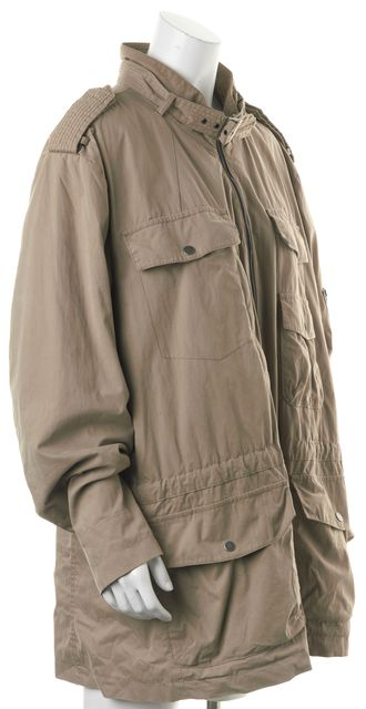 7 FOR ALL MANKIND Beige Zip Front Basic Utility Jacket