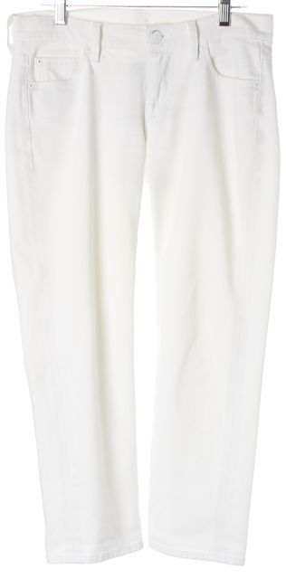 7 FOR ALL MANKIND White Denim Cropped Straight Leg Jeans