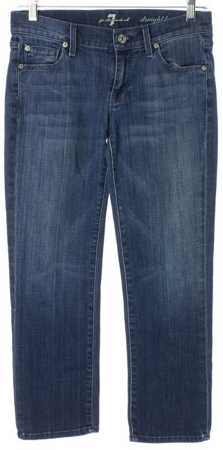 7 FOR ALL MANKIND Blue Stretch Cotton Mid-Rise Cropped Straight Leg Jeans