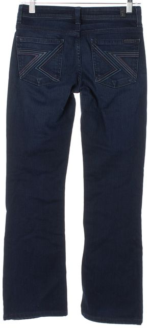7 FOR ALL MANKIND Blue Stretch Cotton Flynt Slim Boot Cut Jeans