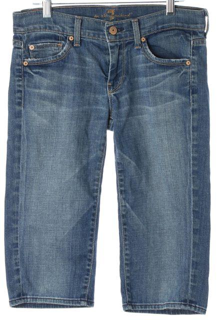 7 FOR ALL MANKIND Blue Stretch Cotton Straight Bermuda Denim Shorts