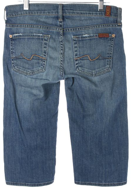 7 FOR ALL MANKIND Blue Stretch Cotton Straight Bermuda Denim Shorts