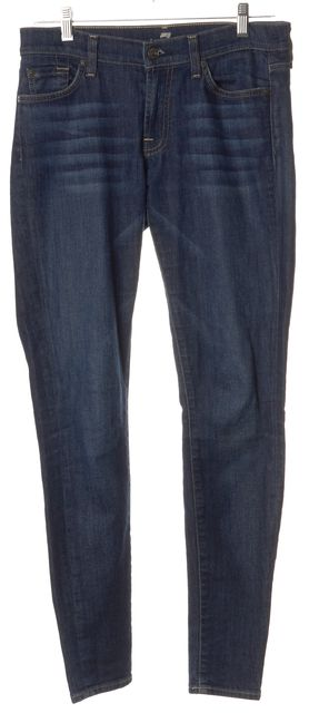7 FOR ALL MANKIND Blue Dark Wash Skinny Jeans