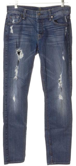 7 FOR ALL MANKIND Blue Josefina Skinny Boyfriend Distressed Jeans
