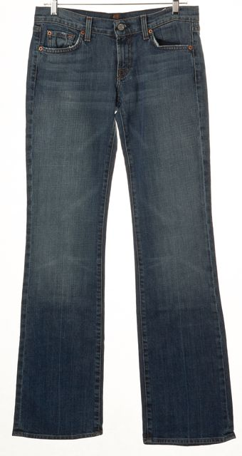 7 FOR ALL MANKIND Blue Boot Cut Mid Rise Jeans