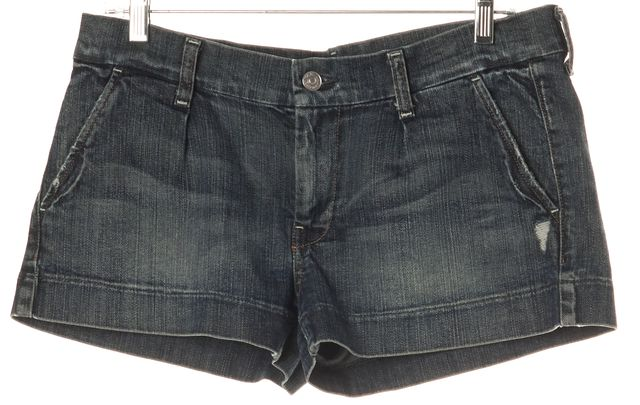 7 FOR ALL MANKIND Blue Denim Whiskered Shorts