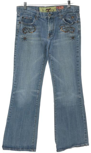 7 FOR ALL MANKIND Blue Wide Leg Jeans
