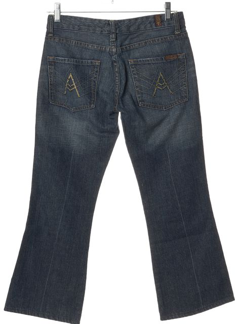7 FOR ALL MANKIND Blue Straight Leg Jeans