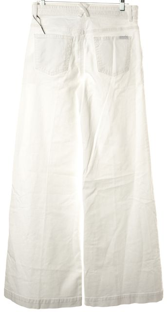 7 FOR ALL MANKIND White Stretch Cotton High-Rise Wide Leg Jeans