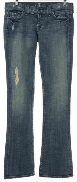 7 FOR ALL MANKIND Blue Distressed Rocker Slim Boot Cut Jeans