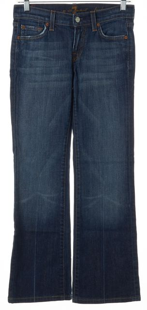 7 FOR ALL MANKIND Blue Stretch Cotton Medium Wash Boot Cut Jeans