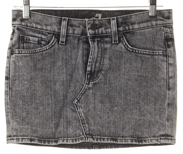 7 FOR ALL MANKIND Gray Cotton Denim Acid Washed Mini Skirt