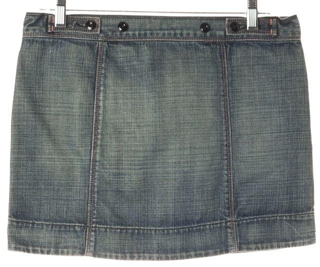 7 FOR ALL MANKIND Blue Cotton Pocket Front Denim A-Line Skirt