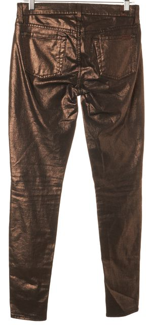 7 FOR ALL MANKIND Bronze Coated Mid-Rise Skinny Jeans