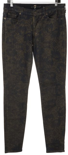 7 FOR ALL MANKIND Green Blue Floral Printed Cotton Denim Skinny Jeans