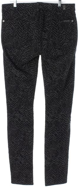 7 FOR ALL MANKIND Gray Black Animal Print Skinny Jeans