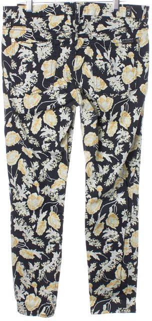 7 FOR ALL MANKIND Blue Floral Mid-Rise Capris, Cropped Pants