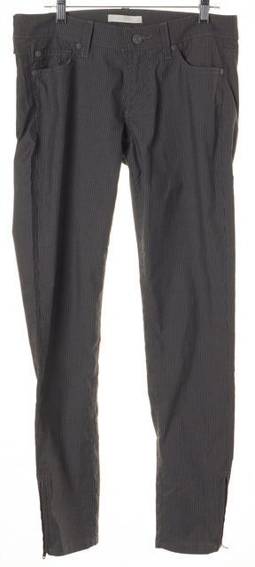 7 FOR ALL MANKIND Gray Pinstripe Cotton Ankle Zip Skinny Trousers Pants