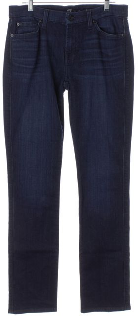 7 FOR ALL MANKIND Blue Mid Rise Karah Straight Leg Jeans