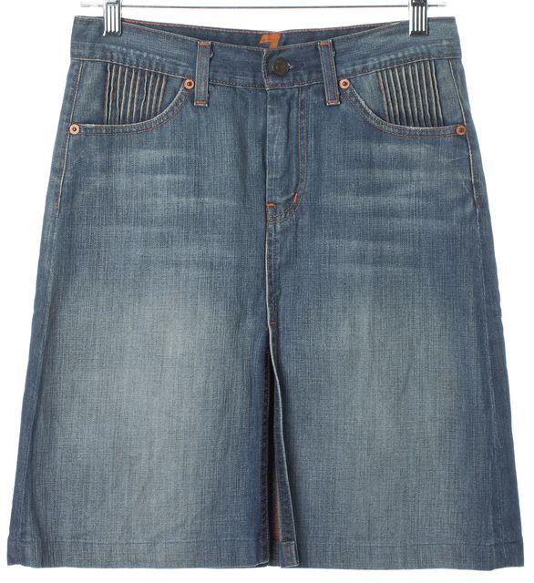 7 FOR ALL MANKIND Blue Cotton Light Wash Denim A-Line Skirt