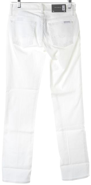 7 FOR ALL MANKIND White Stretch Cotton Classic Straight Leg Jeans
