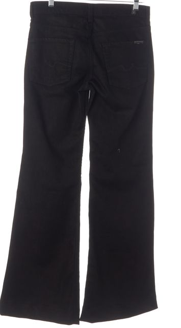 7 FOR ALL MANKIND Black Stretch Cotton Wide Leg Jeans