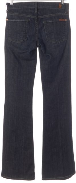 7 FOR ALL MANKIND Blue Dark Wash Low Rise Flare Jeans