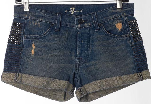 7 FOR ALL MANKIND Blue Embellished Distressed Cuffed Denim Shorts