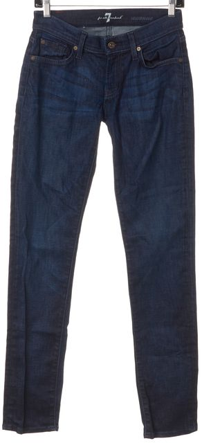 7 FOR ALL MANKIND Blue Low Rise Roxanne Stretch Skinny Jeans