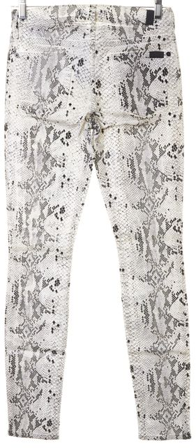 7 FOR ALL MANKIND #FW015007AR White Black Snake Print Skinny Jeans