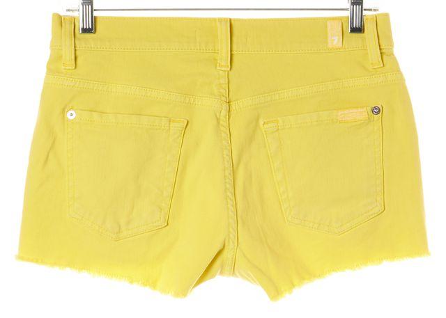 7 FOR ALL MANKIND Yellow Denim Frayed Hem Shorts