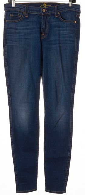 7 FOR ALL MANKIND Blue Mid-Rise Five Pocket The Skinny Jeans