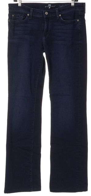 7 FOR ALL MANKIND Blue Stretch Cotton Mid-Rise Boot Cut Jeans